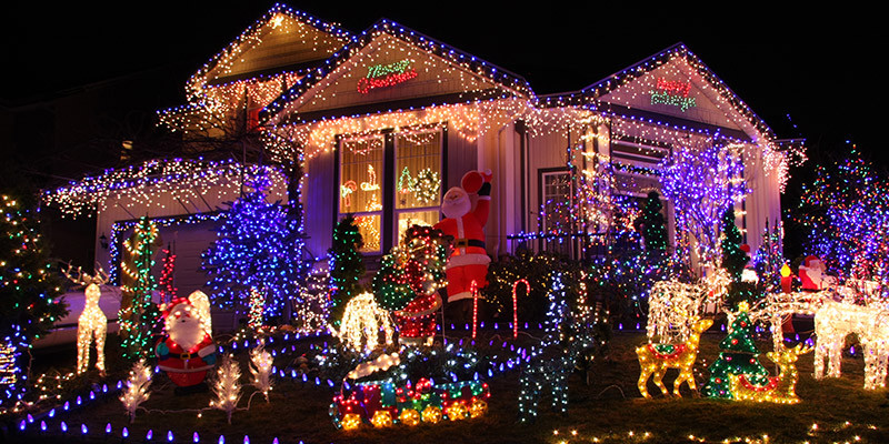 Christmas decorations around a house